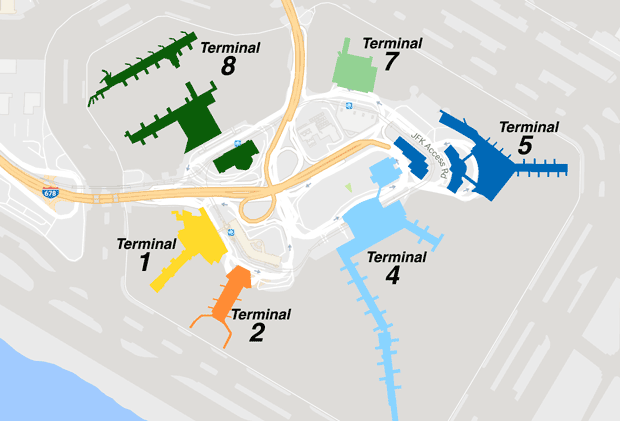 Map Of New York Showing Jfk Airport.Terminal Map And Information Jfk Airport